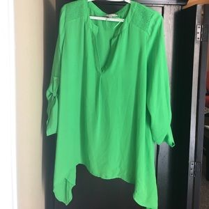 Large Lime Green 3/4 sleeve blouse